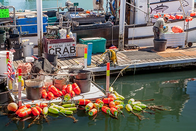 Crab boat with accoutrement at the Newport Harbor, Yaquina Bay, Oregon.