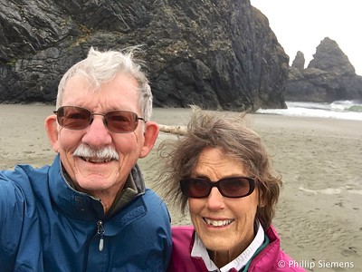 Selfie on beach south of Cape Sebastian