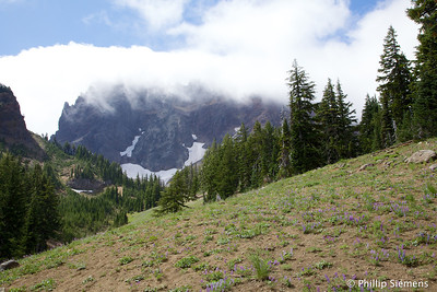 Three Fingered Jack shrouded in clouds
