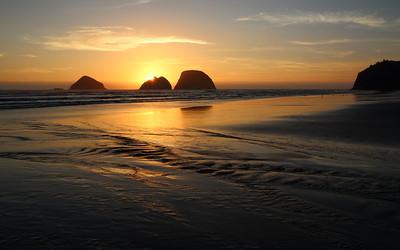 Sunset behind Finley Rock