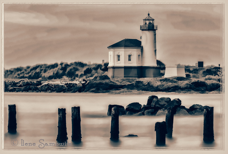 10-4-12 Coquille Lighthouse in Bandon, Oregon.  I have been processing all different views and treatments of the lighthouse.  I am definitely enjoying the variety.  This is a single long exposure taken with a 54 sec shutter speed when there was a boring sky.  I used Topaz Labs Simplify using a Buz Slim filter and then finished the processing using Topaz Black and White and modified a Black Rose Dynamic preset.  I finished it off using a frame in Photoframe.<br /> <br /> Critiques Welcome.