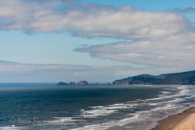 7-4-13 A beautiful day on the coast for the 4th.  This is along the Three Capes Loop in Oregon.    The tiny specs along the sand on the right are people.  <br /> <br /> Sorry I am so tired I cannot comment tonight.  Thanks for all the comments and feedback, it is so appreciated.  This group rocks.