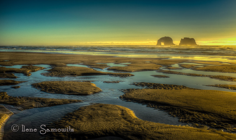 9-9-13 Rockaway Beach, Oregon late summer sunset. One thing I will miss when we move south is these reflecting pools at low tide sunsets. This is a wonderful feature of this beach.