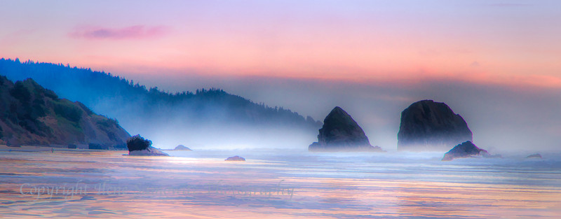 Haystack Rock in Fog<br /> Tolovana, Oregon