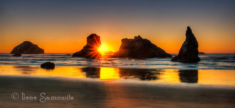 10-10-12 Face Rock Sunset taken at Bandon, Oregon.  This is a 5 stop HDR processed with Photomatix and Color Effex Pro  4.0.  I left some of the flare in because I like the effect.  I realize that this is personal preference but wanted to get more opinions.  This is another image taken at the workshop.<br /> <br /> Constructive Feedback Welcome and Appreciated.
