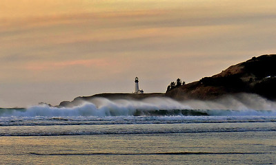 Yaquina Head Lighthouse from Agate Beach  -  Newport Oregon
