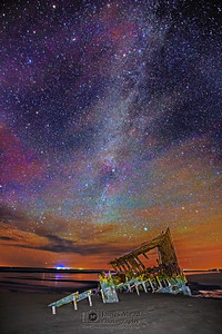 """Sinking Starlight,"" Winter Milky Way over The Wreck of the Peter Iredale, Oregon Coast"