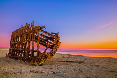 """Pastel Wreckage,""Peter Iredale at Sunset, Fort Stevens State Park, Oregon Coast, Oregon"