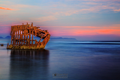 """Pacific Graveyard,"" Peter Iredale Sunset, Wreck of the Peter Iredale, Oregon Coast"