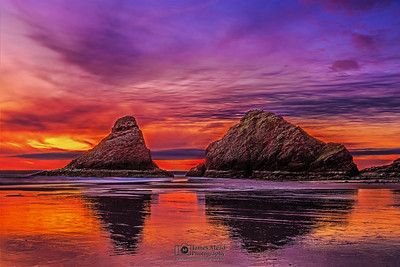 """Fire on the Water,"" Sunset on the Oregon Coast."