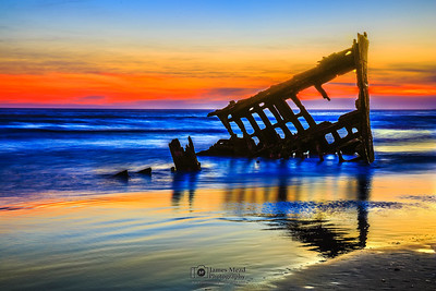 """Sun-kissed Bow,"" Peter Iredale Sunset, Wreck of the Peter Iredale, Oregon"
