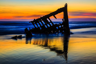 """Sunset Shadows,"" Wreck of the Peter Iredale, North Oregon Coast, Oregon"