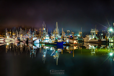 """Maritime Reflections,"" Night on the Newport Harbor, Oregon Coast"