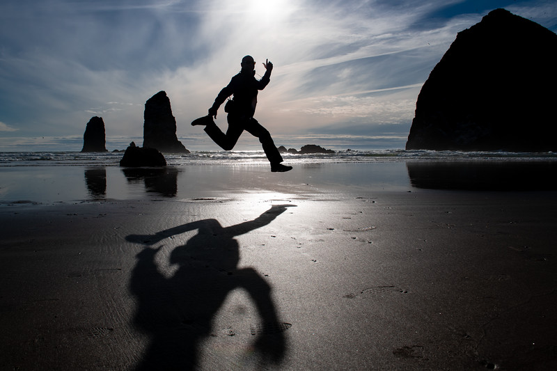 Leaping to Haystack Rock
