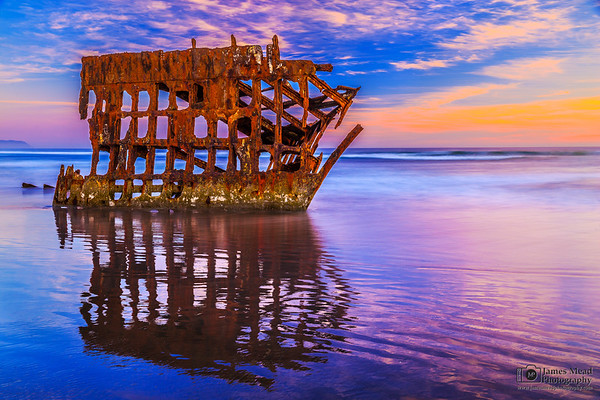 """Skeleton Mirror,"" Peter Iredale Sunset, Wreck of the Peter Iredale, Oregon Coast"