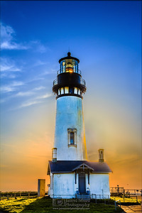 """Glowhouse,"" Yaquina Head Lighthouse at Sunset, Newport Oregon, Oregon Coast"