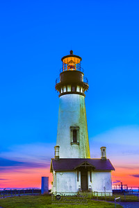 """Lighthouse Twilight,"" Twilight over Yaquina Head Lighthouse, Newport Oregon, Oregon Coast"