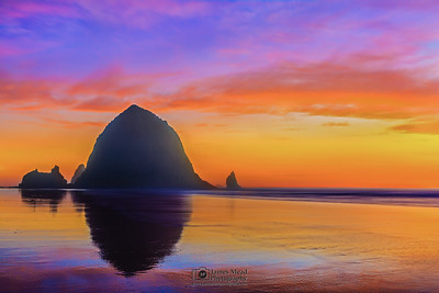 """Pacific Canvas,"" Haystack Rock Sunset, Cannon Beach, Oregon Coast"