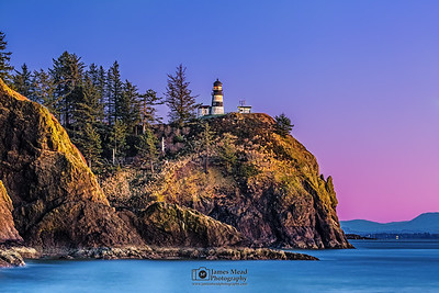 """Pastel Palette,"" Winter Sunset over Cape Disappointment Lighthouse, Cape Disappointment State Park, Washington"
