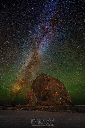 """Golden Crown,"" The Milky Way over Haystack Rock, Cannon Beach, Oregon"