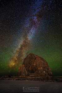 """Golden Crown,"" The Milky Way over Haystack Rock, Cannon Beach, Oregon"