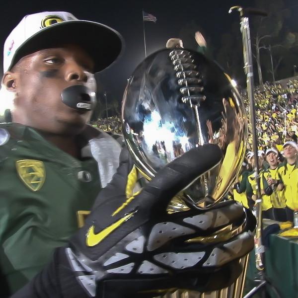 Rose Bowl Trophy up close