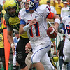 Kellen Moore,  Boise St QB now with NFL Dallas Cowboys, in Autzen shootout with  Darren Thomas