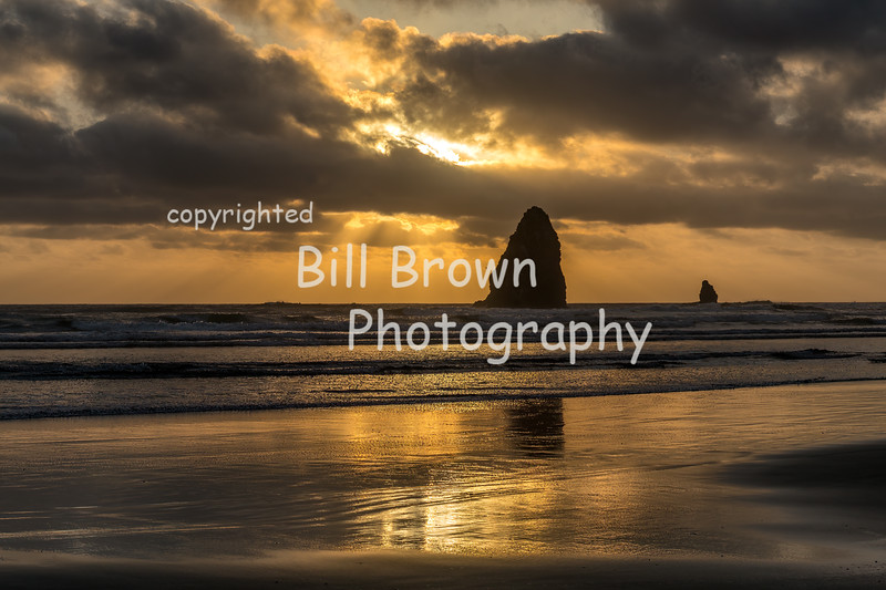 Sun Filtered through Clouds at Cannon Beach
