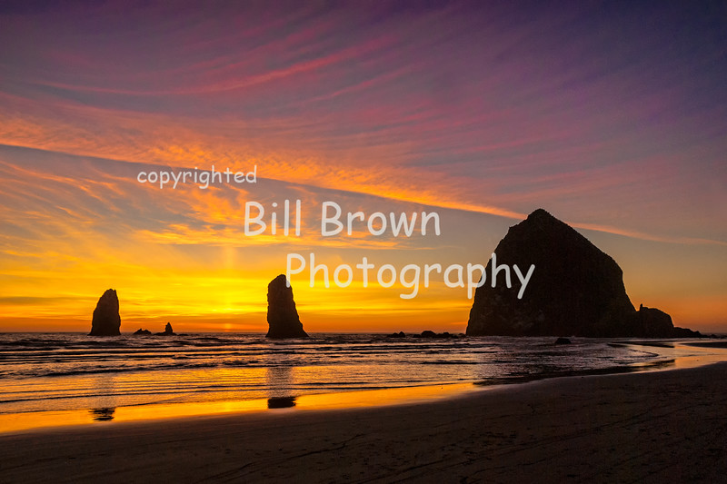 Haystack Rock and the Needles at Sunset