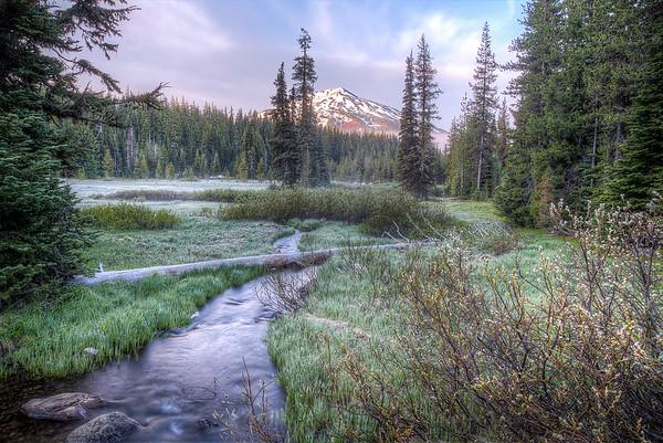 Mount Bachelor from Soda Creek at Sunrise