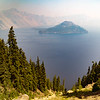 Crater Lake, lots of smoke from nearby forest fires