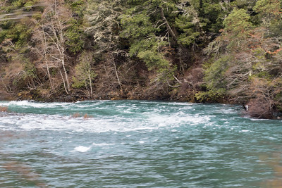 January 26, 2016 This is a terrible photo, but the best I could get from the moving car.  This is the Smith River.  I had to try and capture the color of this river.  It was so beautiful!