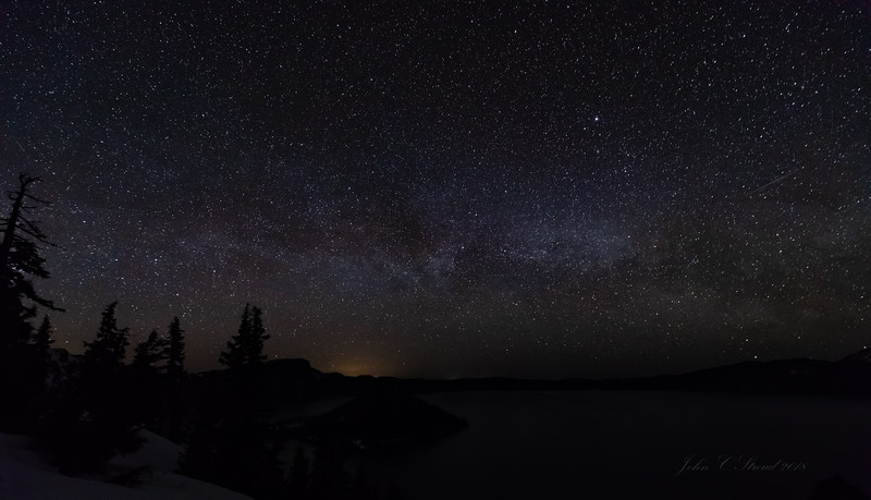 Milky Way over Crater Lake - see the shooting star on right side?