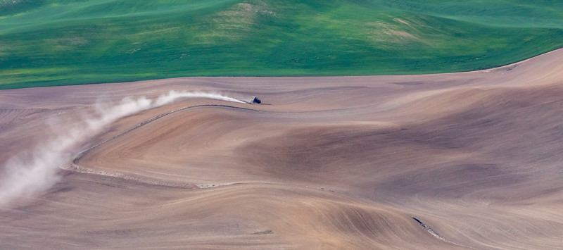 Farming the Palouse with caterpillar ( view from Steptoe Butte,  3612 elevation  )