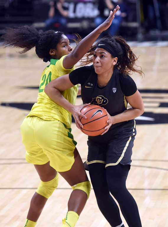 . Janea Bunn, of CU, drives on Ruthy Hebard, of Oregon. For more photos of the game, go to Buffzone.com.  Cliff Grassmick / Staff Photographer/ January 26, 2018