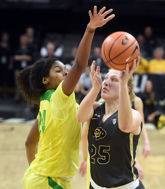 . Annika Jank, of CU, shoots over Ruthy Hebard, of Oregon. For more photos of the game, go to Buffzone.com.  Cliff Grassmick / Staff Photographer/ January 26, 2018