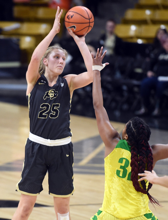 . Annika Jank, of CU, shoots over Oti Gildon, of Oregon. For more photos of the game, go to Buffzone.com.  Cliff Grassmick / Staff Photographer/ January 26, 2018