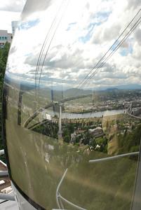 Portland Aerial Tram - reflections of Portland