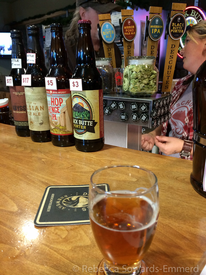 Later that afternoon we returned to our hotel and walked over to the Deschutes production facility to see if we could get in on a tour. They were full but we did get some tastes. Wasn't greatly impressed. Crowded and there are much better places in  town without the crowds.