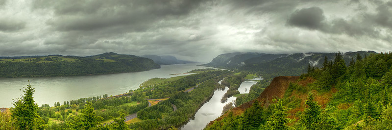 Columbia River Gorge-5 images, 15 exposures layered for hdr then stitched together.  Beautiful location, but too much rain on this trip!!