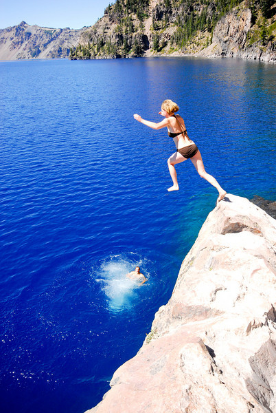 Jumping into Crater Lake.