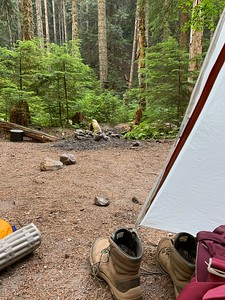 Settled into our Night 1 camp at the junction of Rushing Water Creek and Sandy River