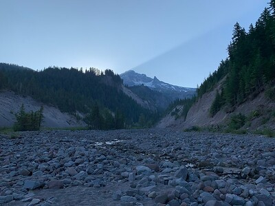 Looking up the Sandy River to Mt Hood on the morning of Day 2.