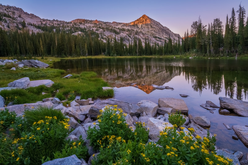 Sundown at Cached Lake beneath Needle Point