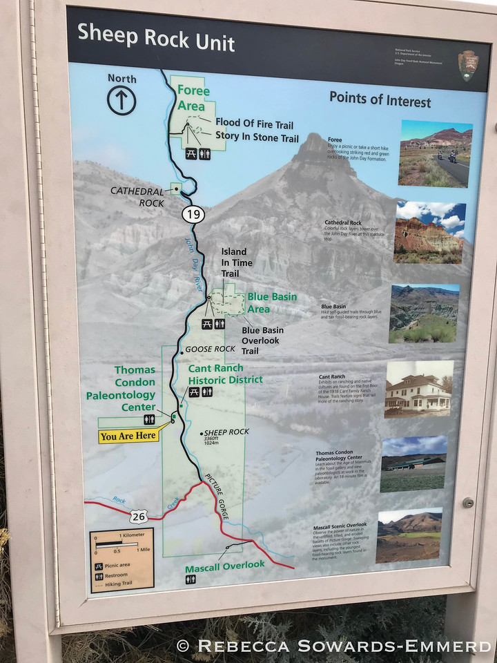 A picture of the overall layout of this part of the National Monument. We visited the Paleontology Center, the Island in Time Trail, and the short trails in the Foree area.