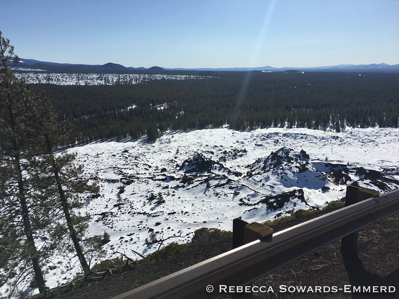 Looking down on the snow covered lava fields around the butte.