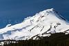 A closeup of the snowcapped peak of Mount Hood, Oregon, USA.