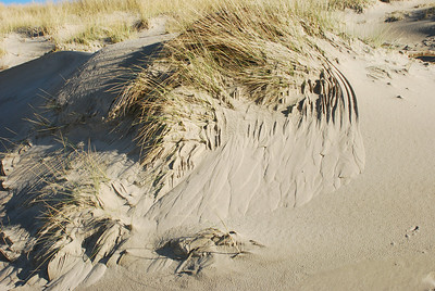 Sand slides in the dunes