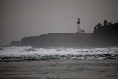 Yaquina Head lighthouse through the rain and mist.