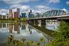 The city skyline and the Hawthorne Bridge in Portland, Oregon, USA.
